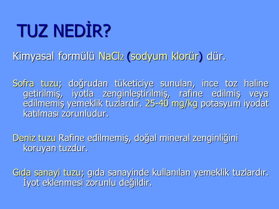 TUZ NEDİR? Kimyasal formülü NaCl 2 (sodyum klorür) dür. Sofra tuzu; doğrudan tüketiciye sunulan, ince toz haline getirilmiş, iyotla zenginleştirilmiş,