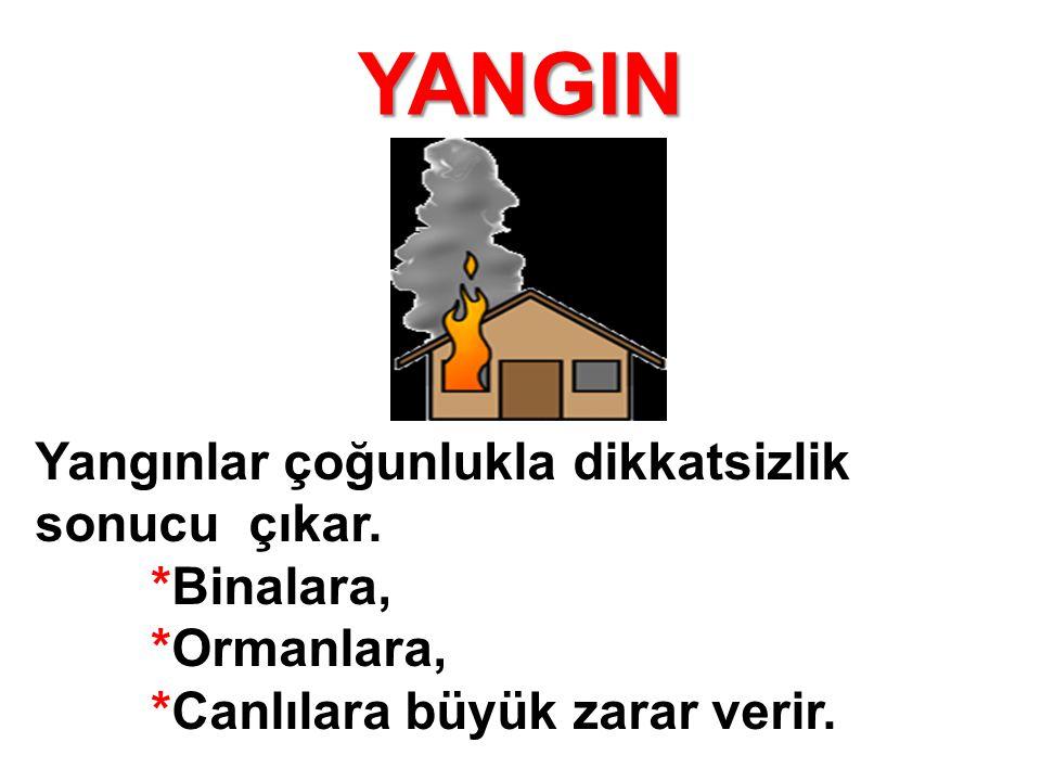 YANGIN Yangınlar çoğunlukla dikkatsizlik sonucu çıkar. *Binalara, *Ormanlara, *Canlılara büyük zarar verir.