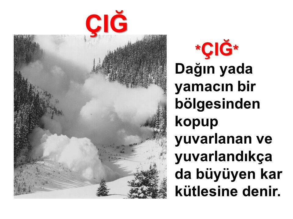 ÇIĞ * ÇIĞ * * ÇIĞ * Dağın yada yamacın bir bölgesinden kopup yuvarlanan ve yuvarlandıkça da büyüyen kar kütlesine denir.