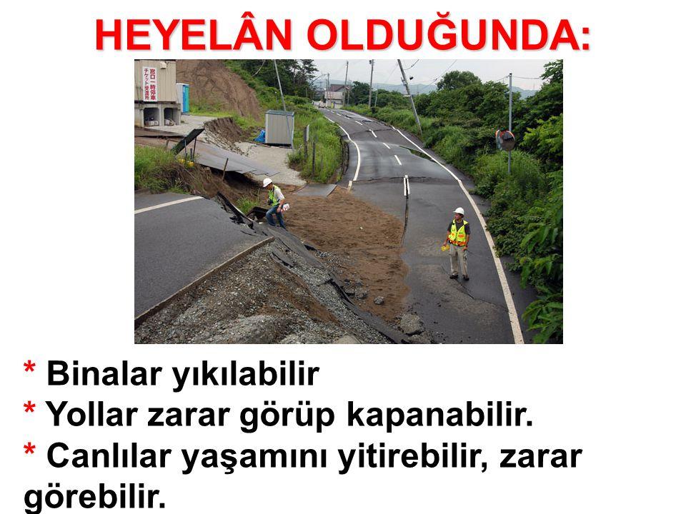 HEYELÂN OLDUĞUNDA: * Binalar yıkılabilir * Yollar zarar görüp kapanabilir. * Canlılar yaşamını yitirebilir, zarar görebilir.