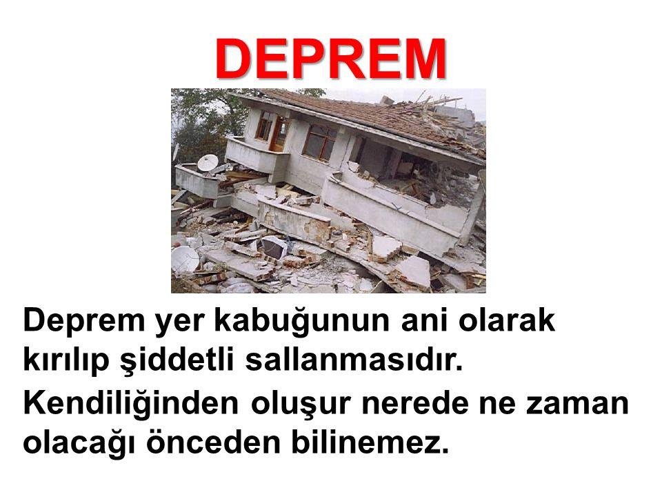 DEPREM Yurdumuzun büyük bölümü deprem tehlikesi altındadır.