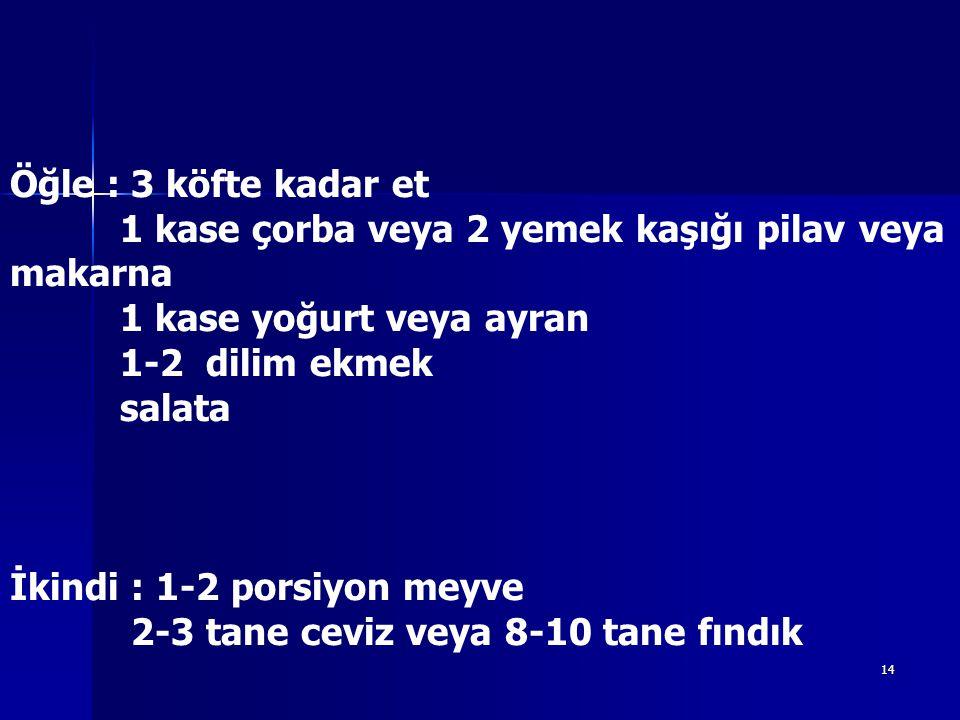 14 Öğle : 3 köfte kadar et 1 kase çorba veya 2 yemek kaşığı pilav veya makarna 1 kase yoğurt veya ayran 1-2 dilim ekmek salata İkindi : 1-2 porsiyon meyve 2-3 tane ceviz veya 8-10 tane fındık