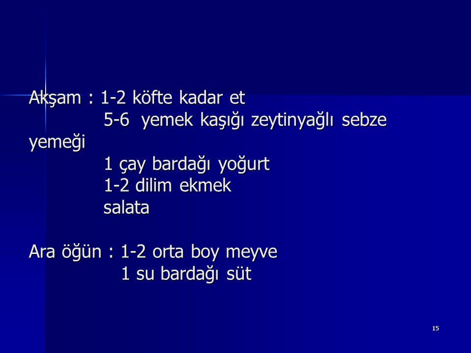 15 Akşam : 1-2 köfte kadar et 5-6 yemek kaşığı zeytinyağlı sebze yemeği 1 çay bardağı yoğurt 1-2 dilim ekmek salata Ara öğün : 1-2 orta boy meyve 1 su bardağı süt