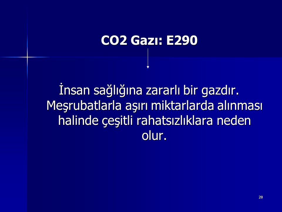 20 CO2 Gazı: E290 İnsan sağlığına zararlı bir gazdır.