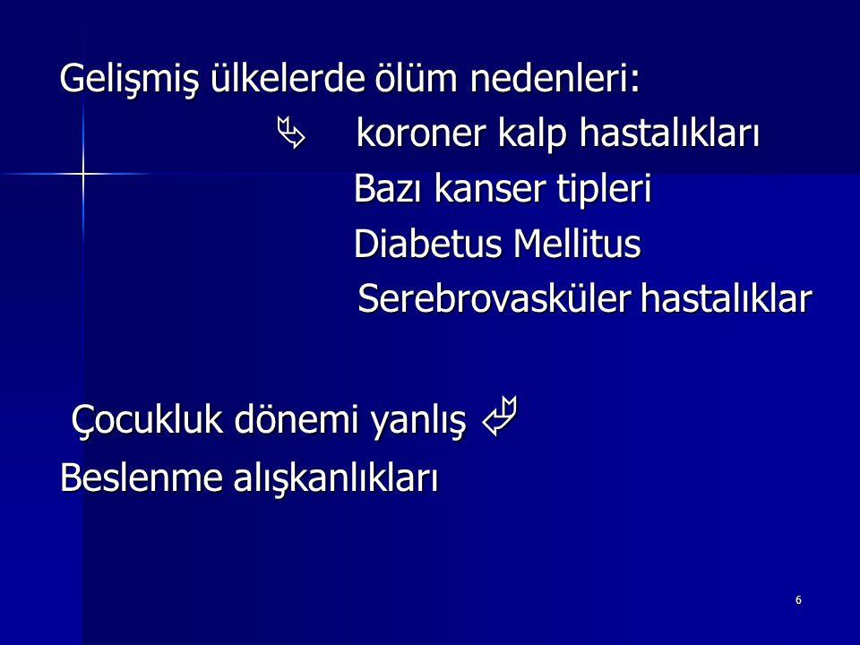 6 Gelişmiş ülkelerde ölüm nedenleri:  koroner kalp hastalıkları  koroner kalp hastalıkları Bazı kanser tipleri Bazı kanser tipleri Diabetus Mellitus Diabetus Mellitus Serebrovasküler hastalıklar Serebrovasküler hastalıklar Çocukluk dönemi yanlış  Çocukluk dönemi yanlış  Beslenme alışkanlıkları