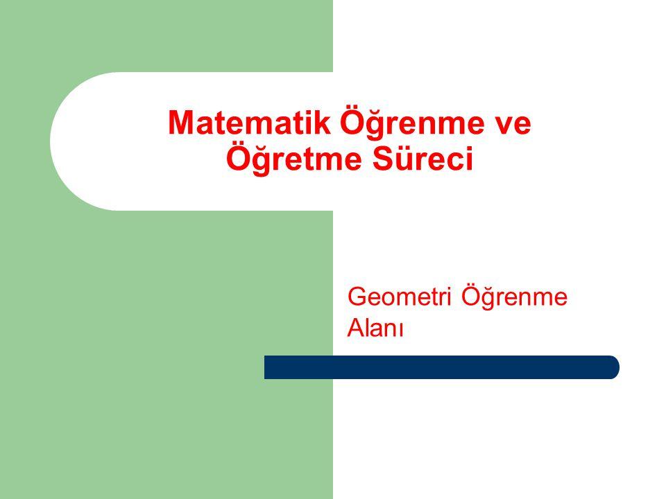 ALT ÖĞRENME ALANLARI Uzamsal (Durum-Yer, Doğrultu-Yön) İlişkiler (1.sınıf) Geometrik Cisimler (1.,2, 4,5 ) Simetri (2.,3,4,5 ) Eşlik (1.,) Örüntü ve Süslemeler (1., 2.,3.,4,5) Düzlem (3, 5), Doğru (3,), Nokta (3), Açı ve ölçüsü (3., 4) Üçgen, Kare, Dikdörtgen ve Çember (3., 4) Çokgenler (5.), Çember (5), Dörtgenler (5.sınıf )