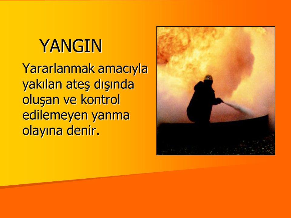 YANGIN Yararlanmak amacıyla yakılan ateş dışında oluşan ve kontrol edilemeyen yanma olayına denir.