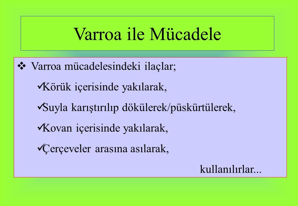 Varroa ile Mücadele  Varroa mücadelesindeki ilaçlar; Körük içerisinde yakılarak, Suyla karıştırılıp dökülerek/püskürtülerek, Kovan içerisinde yakılar
