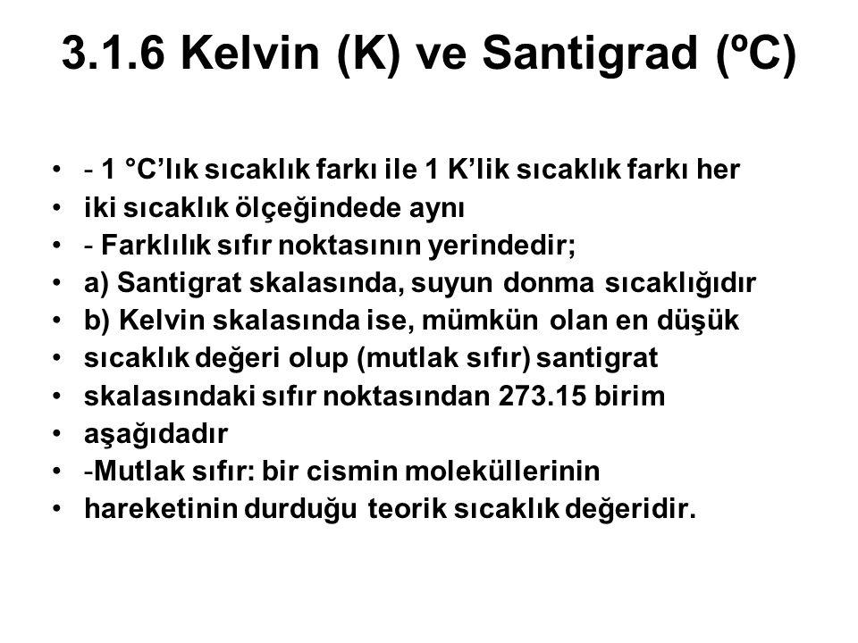 3.1.6 Kelvin (K) ve Santigrad (ºC) - 1 °C'lık sıcaklık farkı ile 1 K'lik sıcaklık farkı her iki sıcaklık ölçeğindede aynı - Farklılık sıfır noktasının