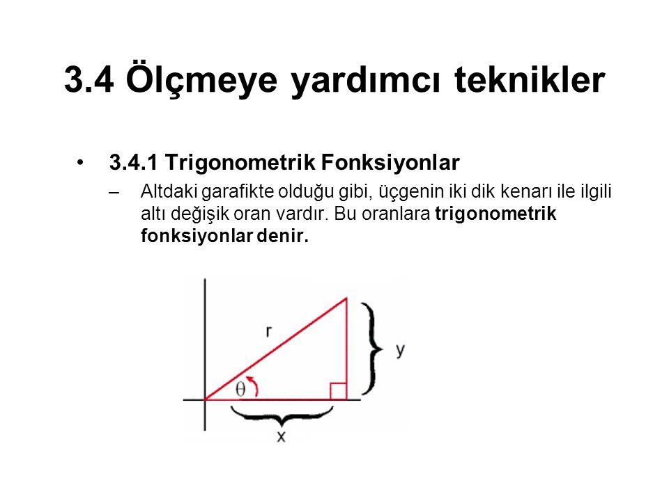 3.4 Ölçmeye yardımcı teknikler 3.4.1 Trigonometrik Fonksiyonlar –Altdaki garafikte olduğu gibi, üçgenin iki dik kenarı ile ilgili altı değişik oran vardır.