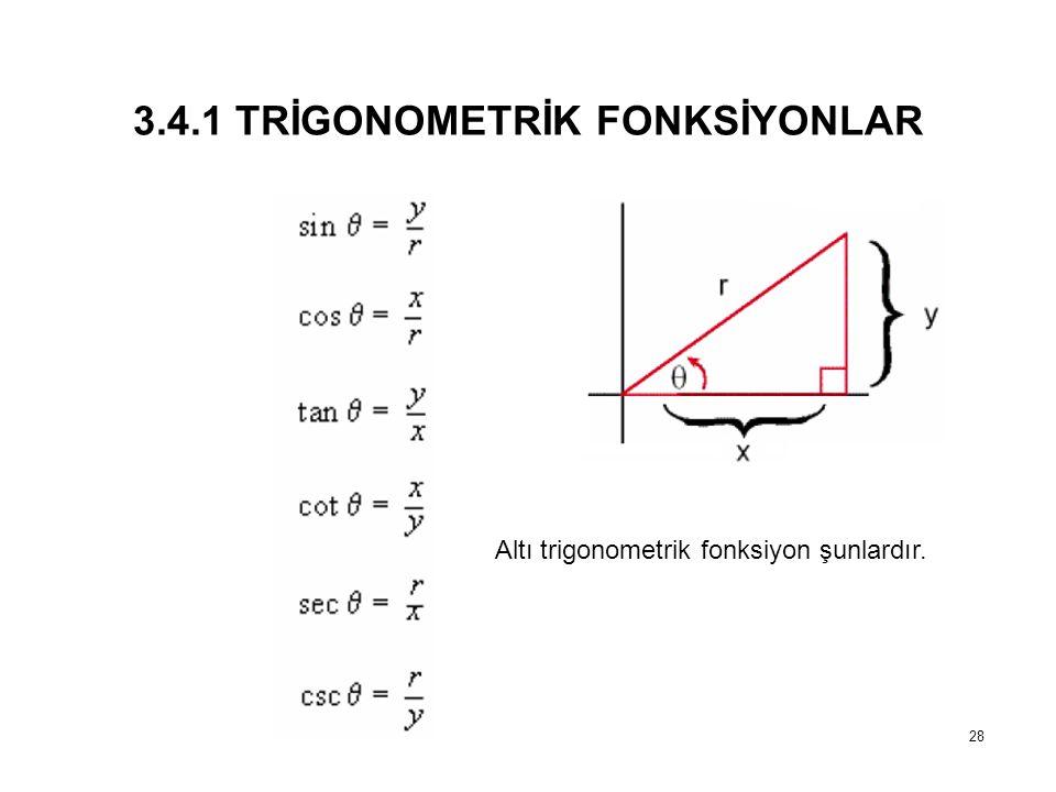 3.4.1 TRİGONOMETRİK FONKSİYONLAR 28 Altı trigonometrik fonksiyon şunlardır.