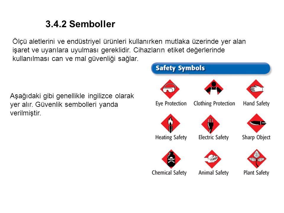 Chapter 1 Semboller Aşağıdaki gibi genellikle ingilizce olarak yer alır. Güvenlik sembolleri yanda verilmiştir. 3.4.2 Semboller Ölçü aletlerini ve end