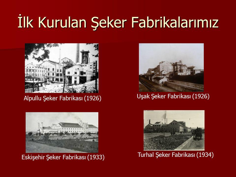 İlk Kurulan Şeker Fabrikalarımız Alpullu Şeker Fabrikası (1926) Uşak Şeker Fabrikası (1926) Eskişehir Şeker Fabrikası (1933) Turhal Şeker Fabrikası (1