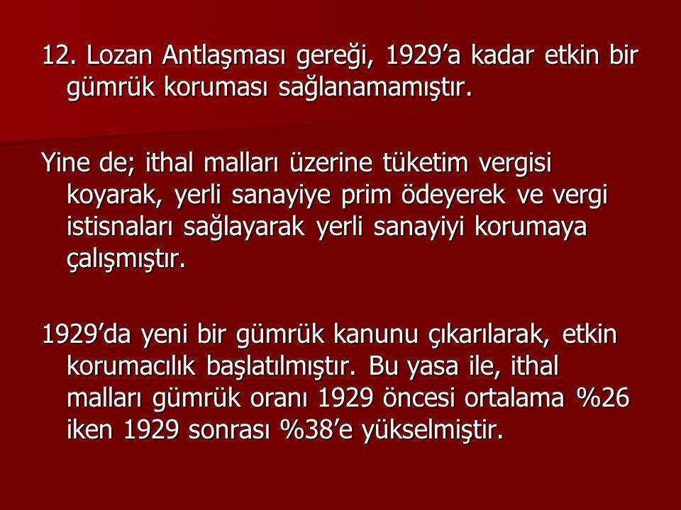12. Lozan Antlaşması gereği, 1929'a kadar etkin bir gümrük koruması sağlanamamıştır. Yine de; ithal malları üzerine tüketim vergisi koyarak, yerli san