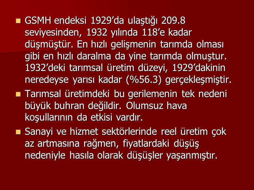 GSMH endeksi 1929'da ulaştığı 209.8 seviyesinden, 1932 yılında 118'e kadar düşmüştür. En hızlı gelişmenin tarımda olması gibi en hızlı daralma da yine