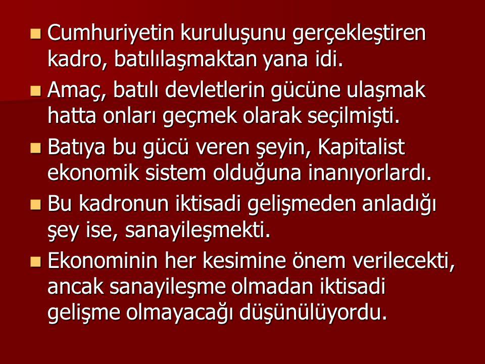 Cumhuriyetin ilk yıllarındaki iktisat politikası, İzmir İktisat Kongresi'nde alınan kararlar doğrultusunda yürütülmeye çalışılmıştır.