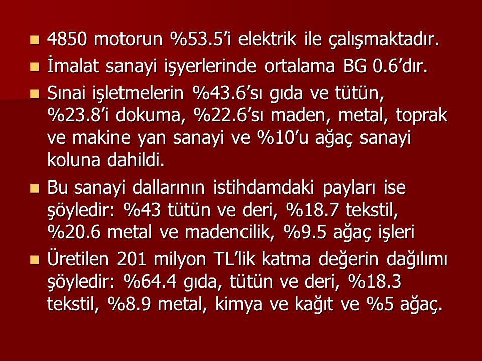 4850 motorun %53.5'i elektrik ile çalışmaktadır. 4850 motorun %53.5'i elektrik ile çalışmaktadır. İmalat sanayi işyerlerinde ortalama BG 0.6'dır. İmal