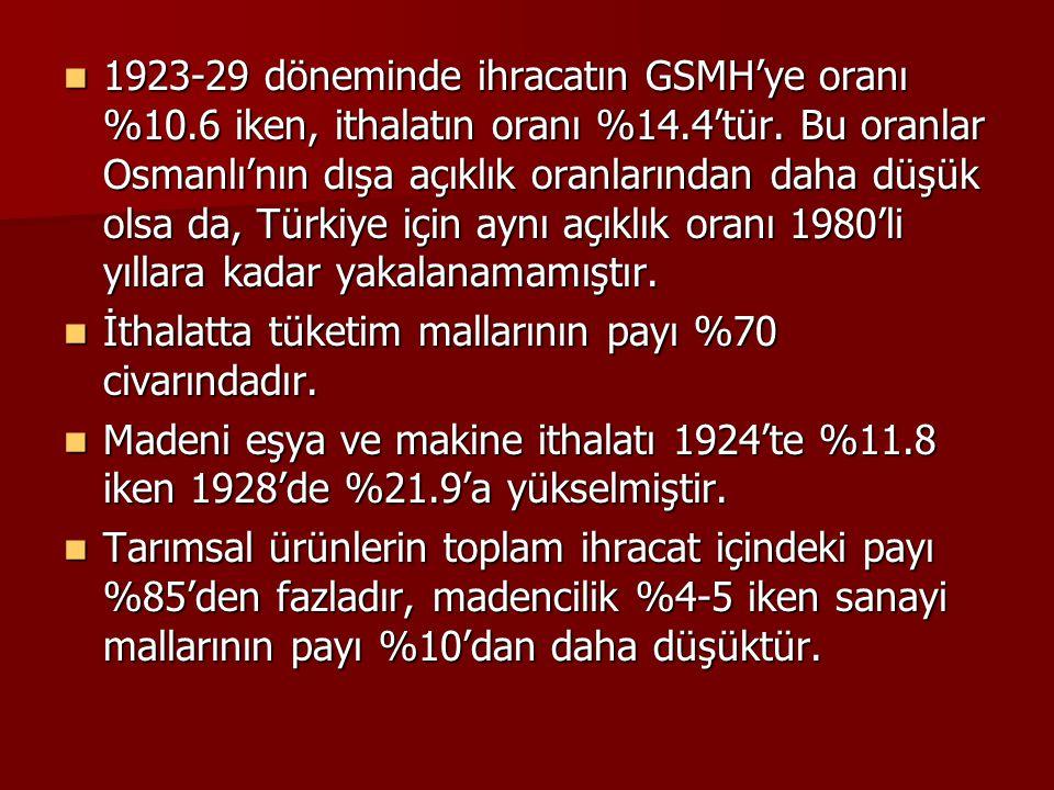 1923-29 döneminde ihracatın GSMH'ye oranı %10.6 iken, ithalatın oranı %14.4'tür. Bu oranlar Osmanlı'nın dışa açıklık oranlarından daha düşük olsa da,