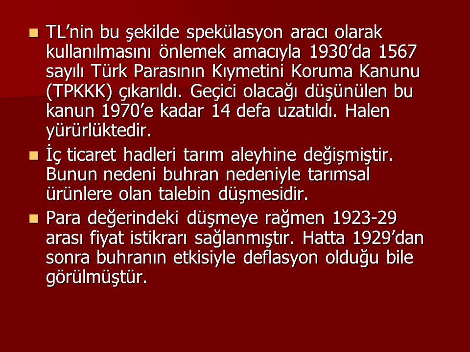 TL'nin bu şekilde spekülasyon aracı olarak kullanılmasını önlemek amacıyla 1930'da 1567 sayılı Türk Parasının Kıymetini Koruma Kanunu (TPKKK) çıkarıld