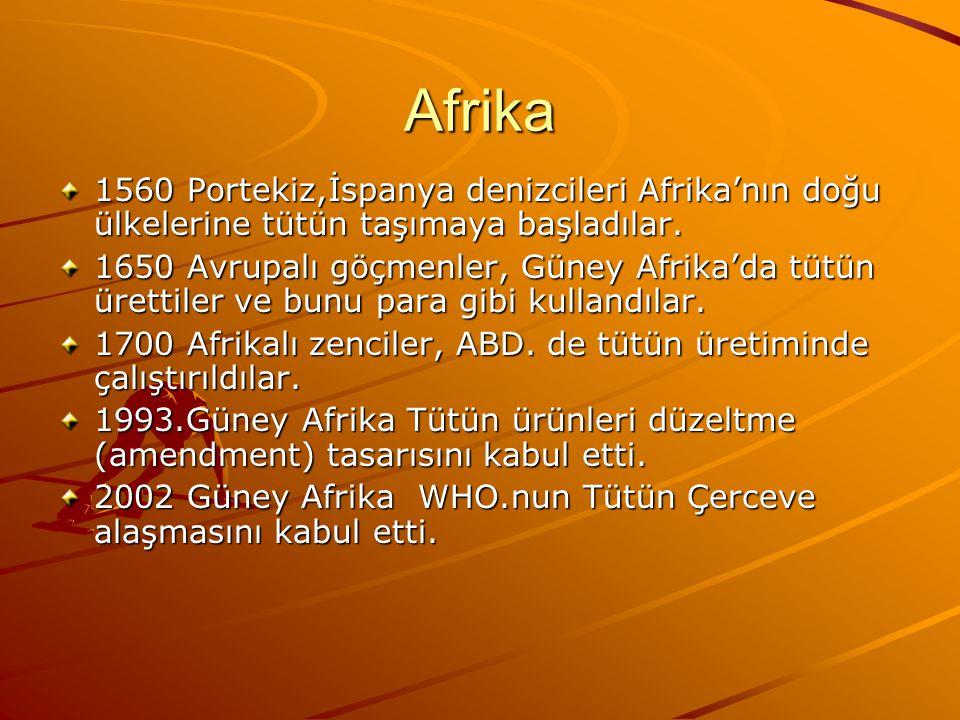 Afrika 1560 Portekiz,İspanya denizcileri Afrika'nın doğu ülkelerine tütün taşımaya başladılar.