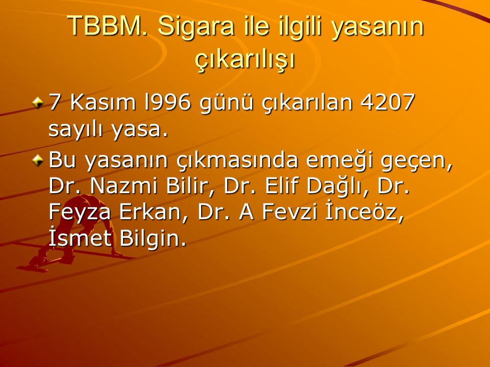 TBBM.Sigara ile ilgili yasanın çıkarılışı 7 Kasım l996 günü çıkarılan 4207 sayılı yasa.