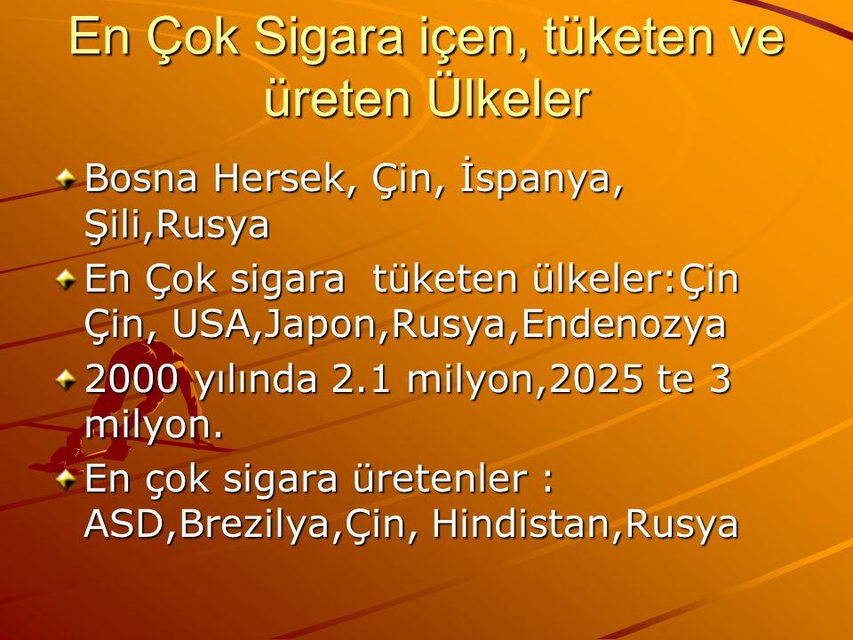 En Çok Sigara içen, tüketen ve üreten Ülkeler Bosna Hersek, Çin, İspanya, Şili,Rusya En Çok sigara tüketen ülkeler:Çin Çin, USA,Japon,Rusya,Endenozya 2000 yılında 2.1 milyon,2025 te 3 milyon.