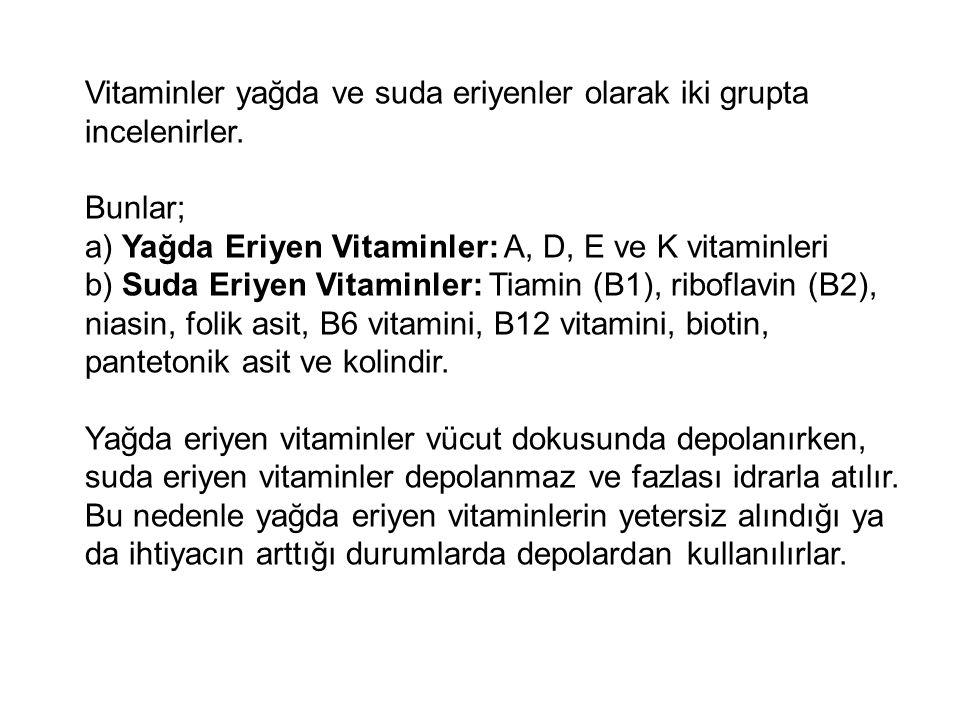 Vitaminler yağda ve suda eriyenler olarak iki grupta incelenirler. Bunlar; a) Yağda Eriyen Vitaminler: A, D, E ve K vitaminleri b) Suda Eriyen Vitamin