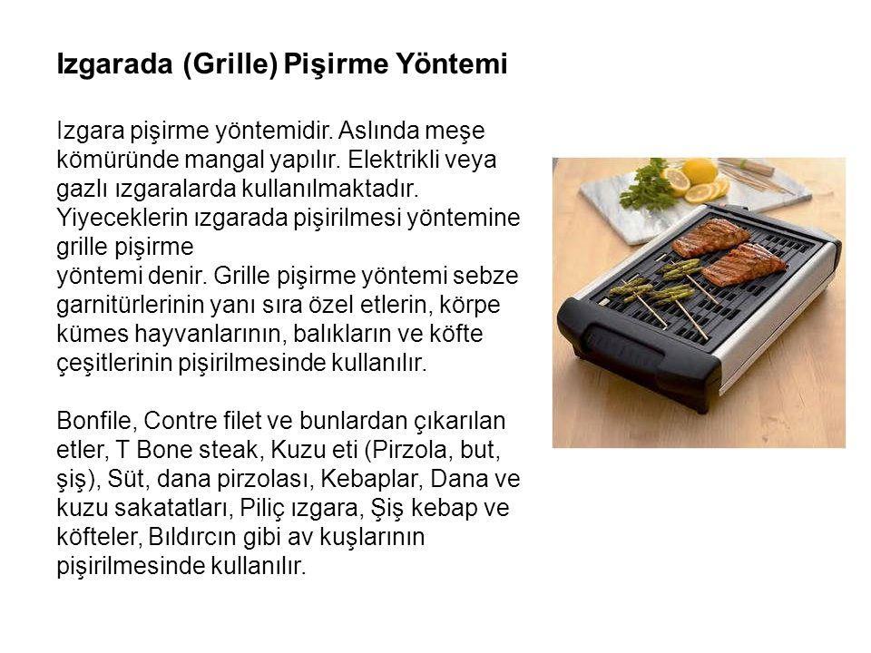 Izgarada (Grille) Pişirme Yöntemi Izgara pişirme yöntemidir. Aslında meşe kömüründe mangal yapılır. Elektrikli veya gazlı ızgaralarda kullanılmaktadır