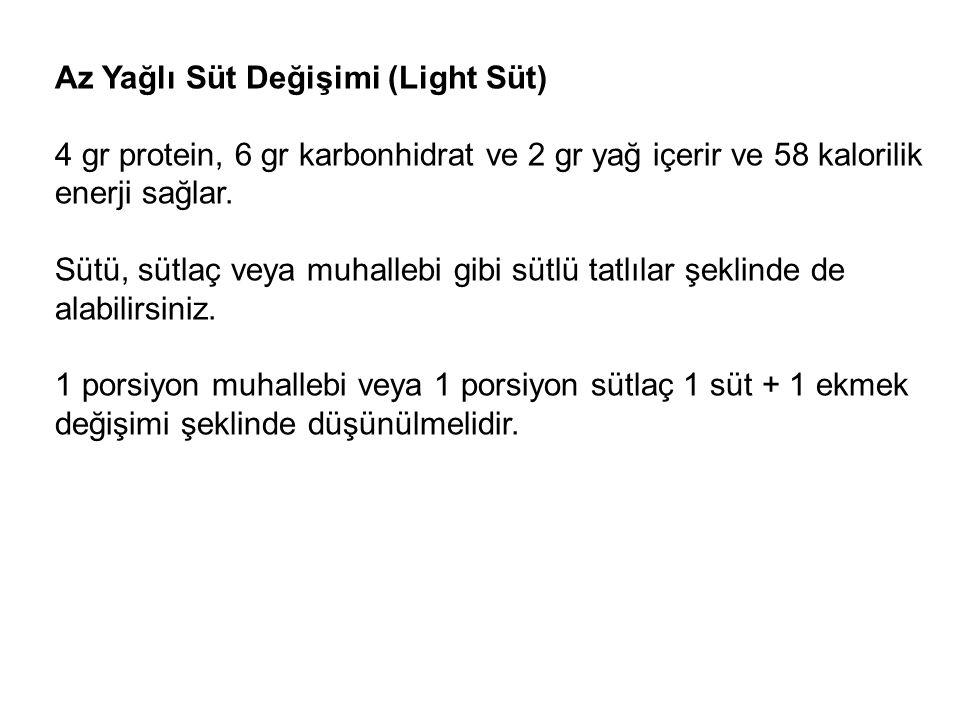 Az Yağlı Süt Değişimi (Light Süt) 4 gr protein, 6 gr karbonhidrat ve 2 gr yağ içerir ve 58 kalorilik enerji sağlar. Sütü, sütlaç veya muhallebi gibi s