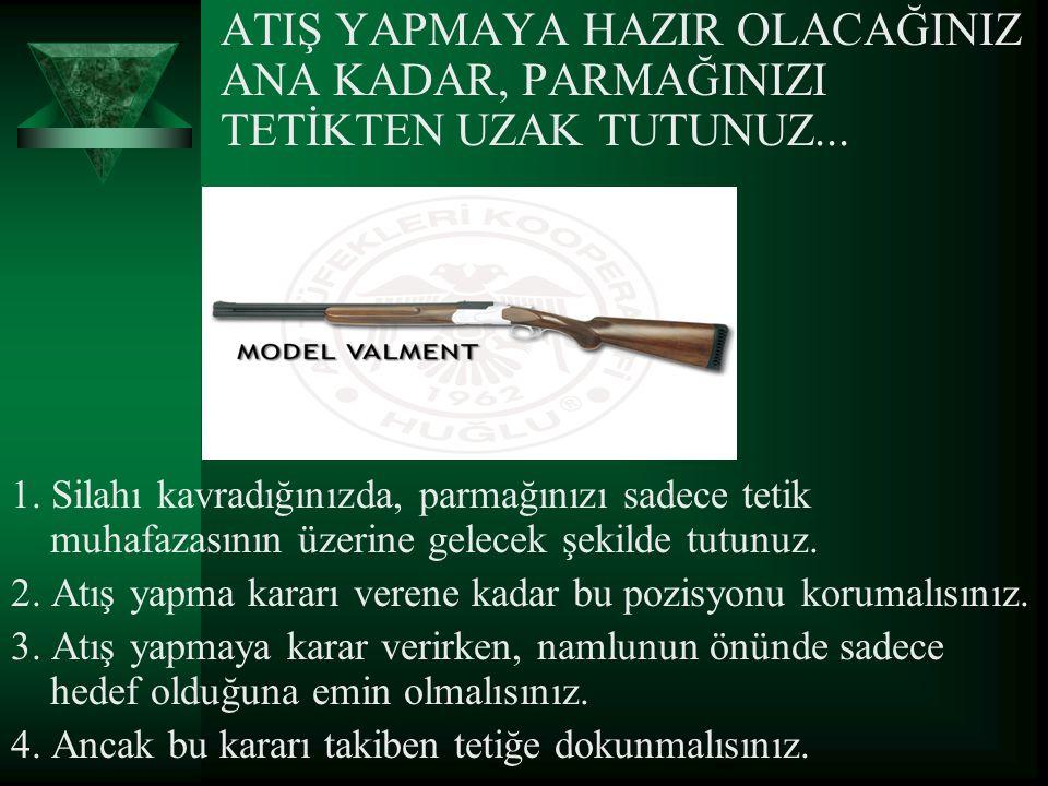 ATIŞ YAPMAYA HAZIR OLACAĞINIZ ANA KADAR, PARMAĞINIZI TETİKTEN UZAK TUTUNUZ... 1. Silahı kavradığınızda, parmağınızı sadece tetik muhafazasının üzerine