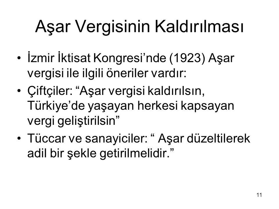 Aşar Vergisinin Kaldırılması İzmir İktisat Kongresi'nde (1923) Aşar vergisi ile ilgili öneriler vardır: Çiftçiler: Aşar vergisi kaldırılsın, Türkiye'de yaşayan herkesi kapsayan vergi geliştirilsin Tüccar ve sanayiciler: Aşar düzeltilerek adil bir şekle getirilmelidir. 11