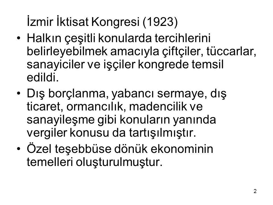 İzmir İktisat Kongresi (1923) Halkın çeşitli konularda tercihlerini belirleyebilmek amacıyla çiftçiler, tüccarlar, sanayiciler ve işçiler kongrede temsil edildi.