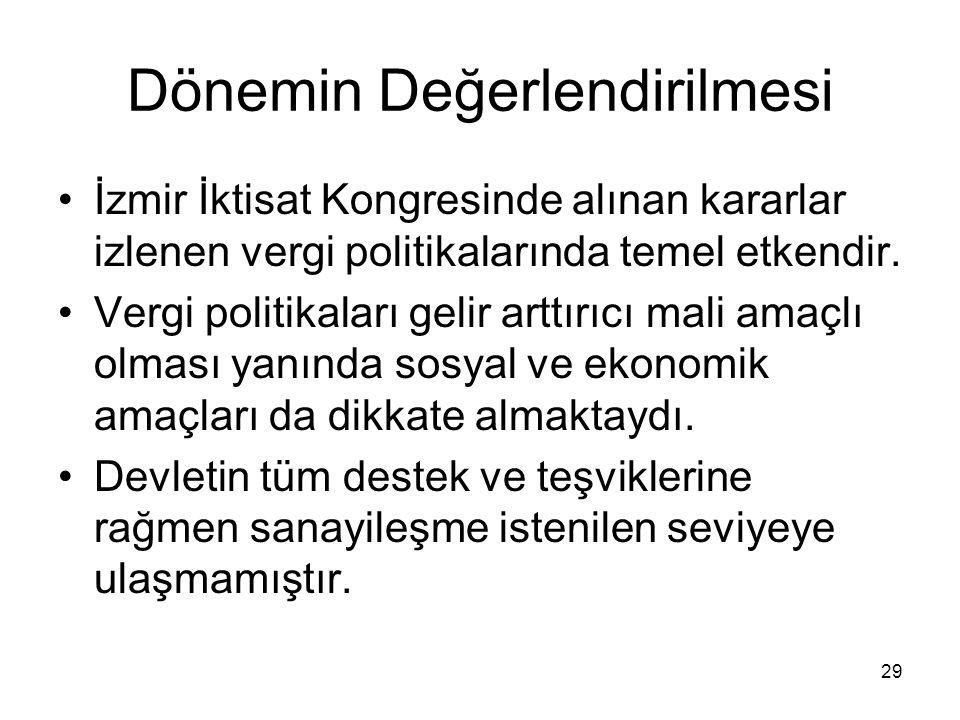 Dönemin Değerlendirilmesi İzmir İktisat Kongresinde alınan kararlar izlenen vergi politikalarında temel etkendir.
