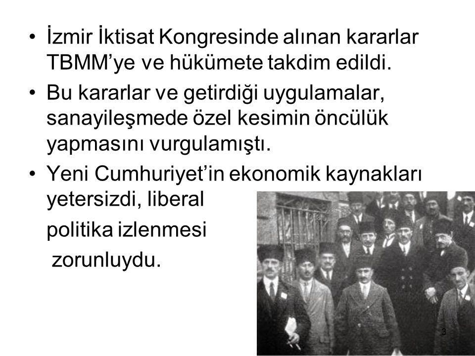 İzmir İktisat Kongresinde alınan kararlar TBMM'ye ve hükümete takdim edildi.