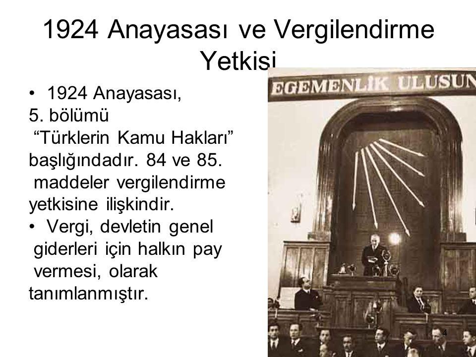 1924 Anayasası ve Vergilendirme Yetkisi 1924 Anayasası, 5.