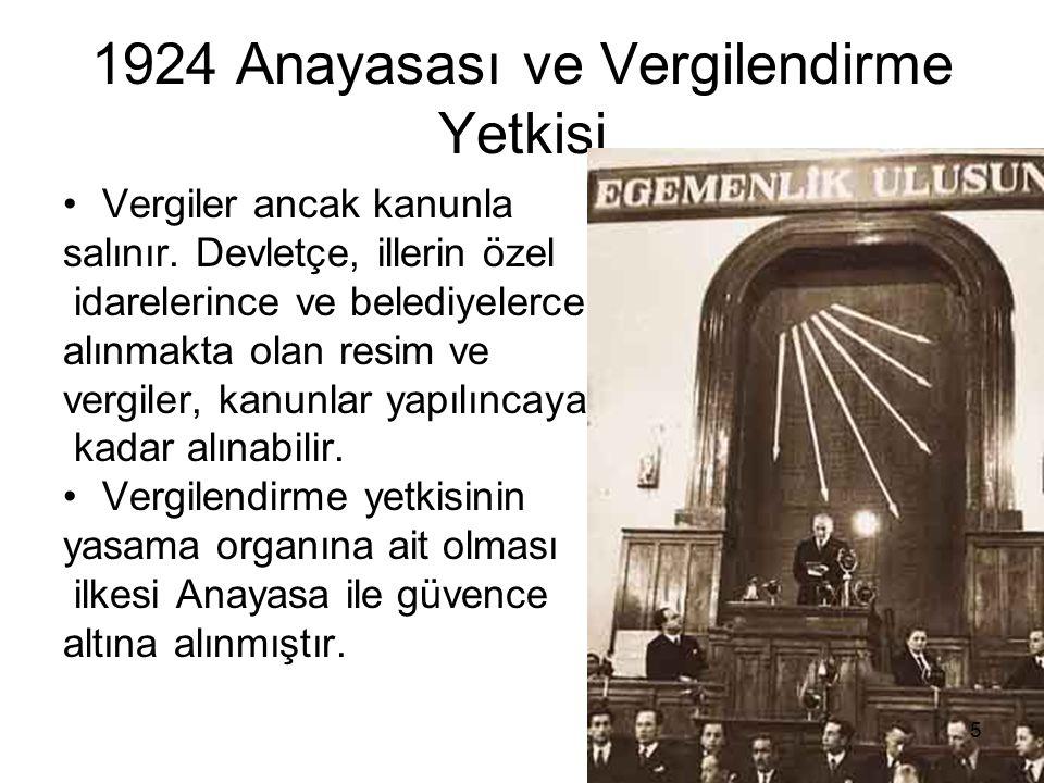 1924 Anayasası ve Vergilendirme Yetkisi Vergiler ancak kanunla salınır.