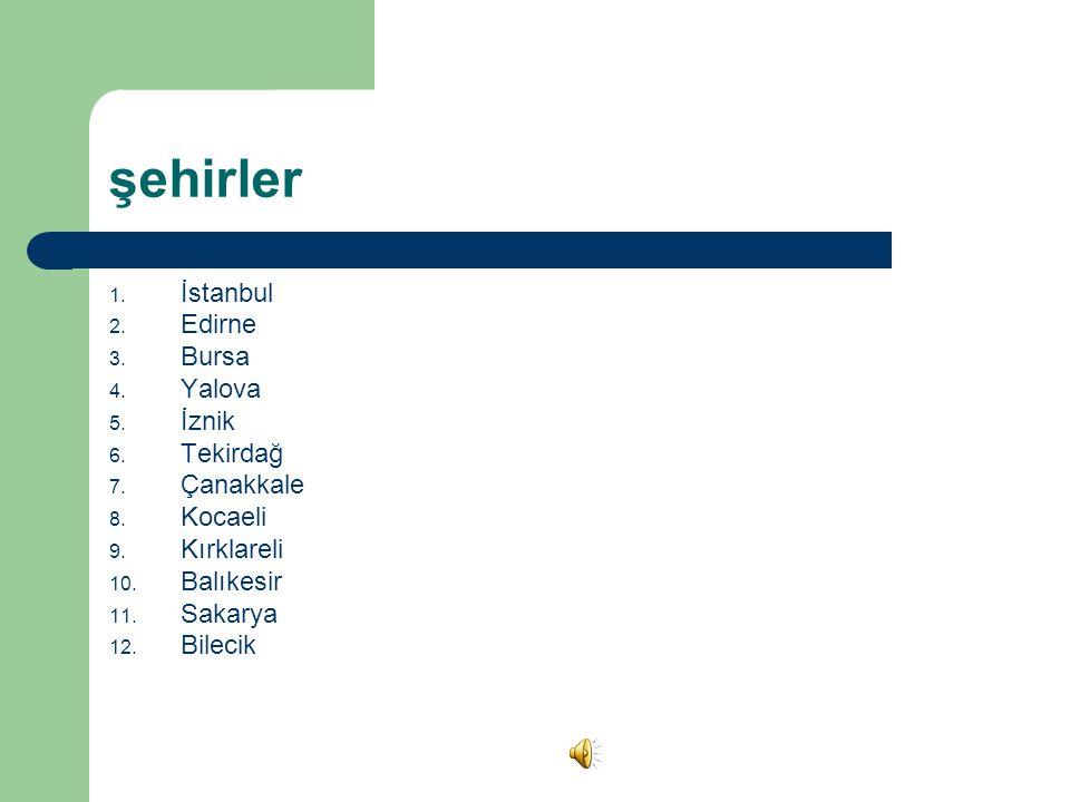 şehirler 1.İstanbul 2. Edirne 3. Bursa 4. Yalova 5.