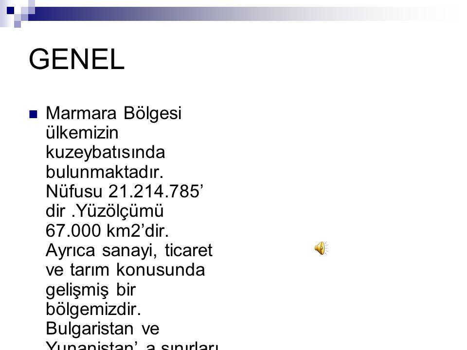 GENEL Marmara Bölgesi ülkemizin kuzeybatısında bulunmaktadır.