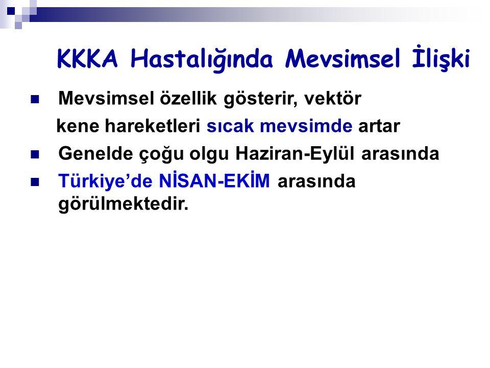 KKKA Hastalığında Mevsimsel İlişki Mevsimsel özellik gösterir, vektör kene hareketleri sıcak mevsimde artar Genelde çoğu olgu Haziran-Eylül arasında Türkiye'de NİSAN-EKİM arasında görülmektedir.