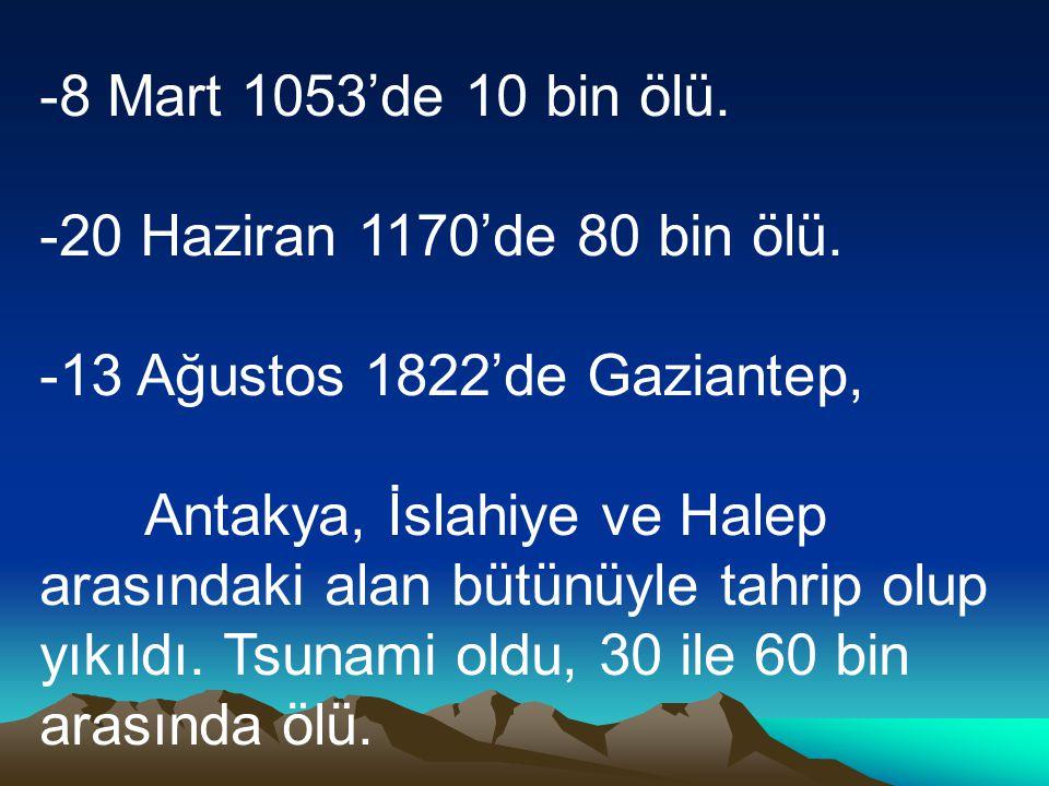 -8 Mart 1053'de 10 bin ölü. -20 Haziran 1170'de 80 bin ölü. -13 Ağustos 1822'de Gaziantep, Antakya, İslahiye ve Halep arasındaki alan bütünüyle tahrip