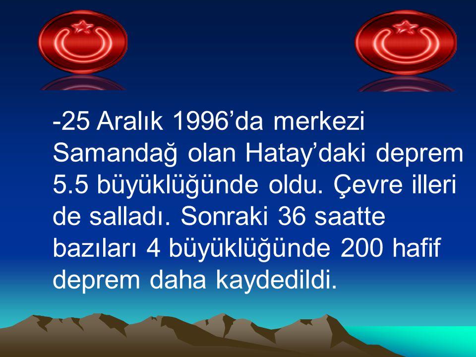 -25 Aralık 1996'da merkezi Samandağ olan Hatay'daki deprem 5.5 büyüklüğünde oldu. Çevre illeri de salladı. Sonraki 36 saatte bazıları 4 büyüklüğünde 2
