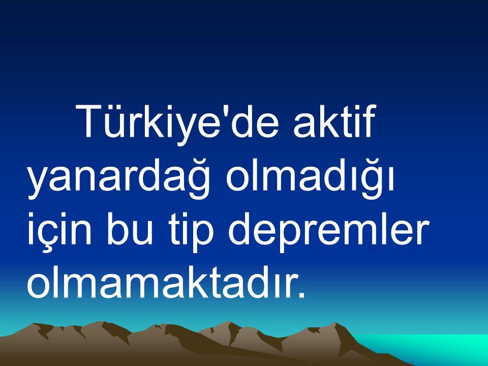 Türkiye'de aktif yanardağ olmadığı için bu tip depremler olmamaktadır.