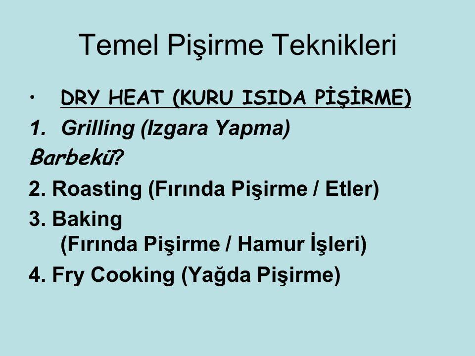 Temel Pişirme Teknikleri DRY HEAT (KURU ISIDA PİŞİRME) 1.Grilling (Izgara Yapma) Barbekü ? 2. Roasting (Fırında Pişirme / Etler) 3. Baking (Fırında Pi