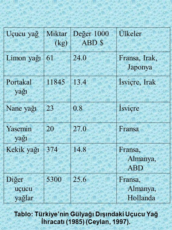 Uçucu yağMiktar (kg) Değer 1000 ABD $ Ülkeler Limon yağı6124.0Fransa, Irak, Japonya Portakal yağı 1184513.4İsviçre, Irak Nane yağı230.8İsviçre Yasemin yağı 2027.0Fransa Kekik yağı37414.8Fransa, Almanya, ABD Diğer uçucu yağlar 530025.6Fransa, Almanya, Hollanda Tablo: Türkiye'nin Gülyağı Dışındaki Uçucu Yağ İhracatı (1985) (Ceylan, 1997).