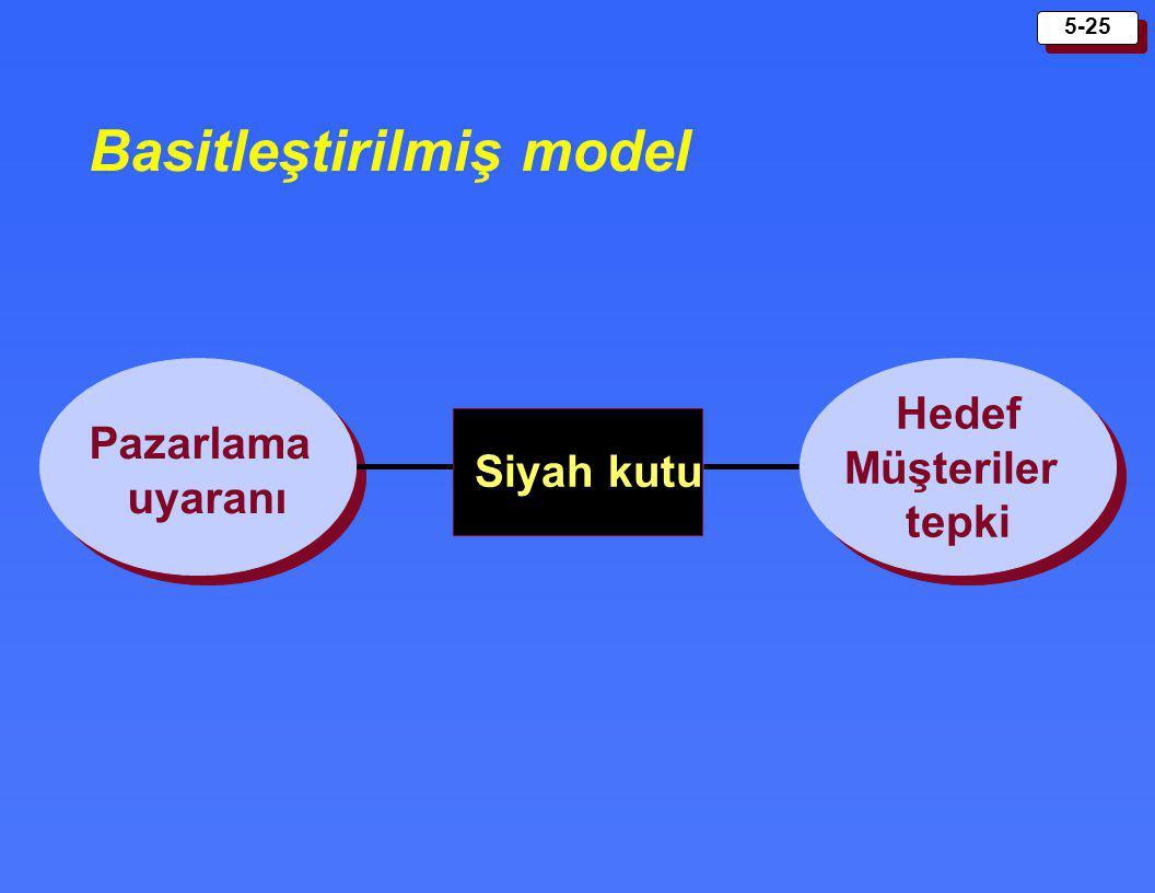 5-25 Basitleştirilmiş model Pazarlama uyaranı Hedef Müşteriler tepki Siyah kutu