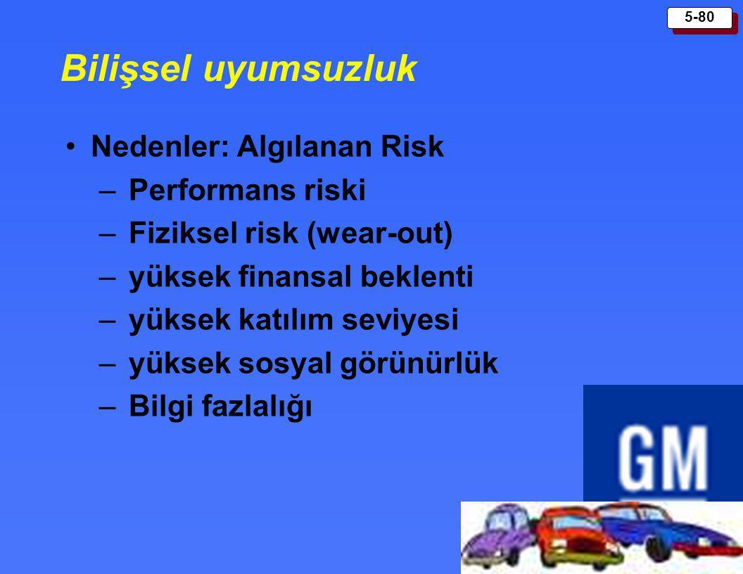 5-80 Bilişsel uyumsuzluk Nedenler: Algılanan Risk – Performans riski – Fiziksel risk (wear-out) – yüksek finansal beklenti – yüksek katılım seviyesi –