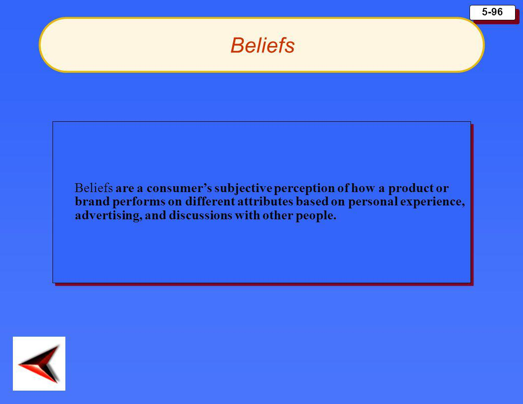 5-96 Beliefs Beliefs are a consumer's subjective perception of how a product or brand performs on different attributes based on personal experience, a