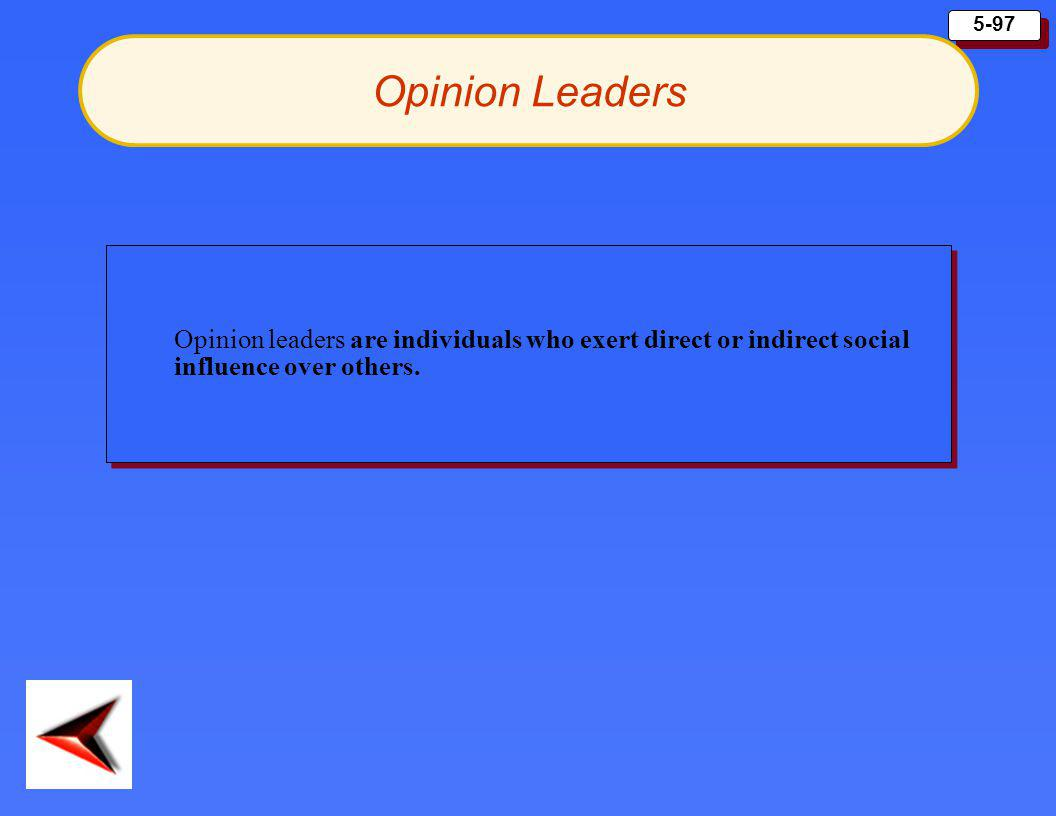 5-97 Opinion leaders are individuals who exert direct or indirect social influence over others. Opinion Leaders