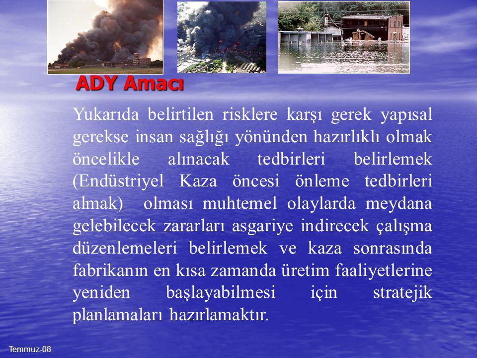 İKM-02 ADY Kapsamı ADY kapsamında gerek fabrikamız bünyesinden kaynaklanan büyük Endüstriyel Kazalar (yangın, patlama, gaz-sıvı kaçakları ve ortam şar