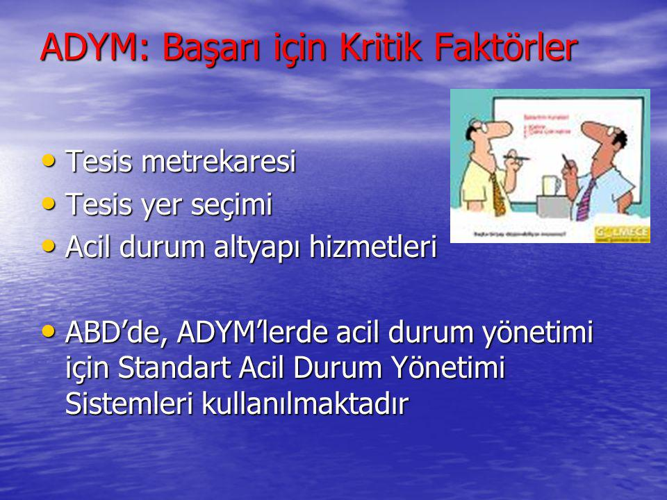 ADYM: Başarı için Kritik Faktörler Belirli bir görev tanımı Belirli bir görev tanımı Merkezi, güvenli ve ulaşımı kolay bir lokasyon Merkezi, güvenli v